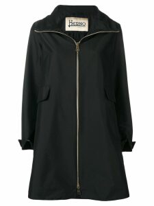 Herno zipped single-breasted coat - Black