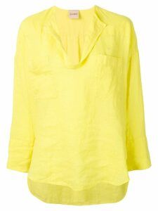 Nude chest pocket blouse - Yellow