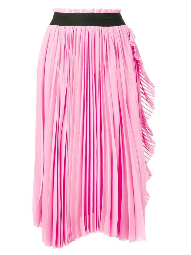 Nude ruffled-trim pleated skirt - Pink