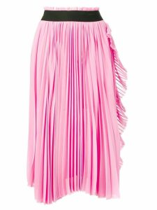 Nude ruffled-trim pleated skirt - Pink