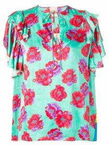 Nude floral print blouse - Blue