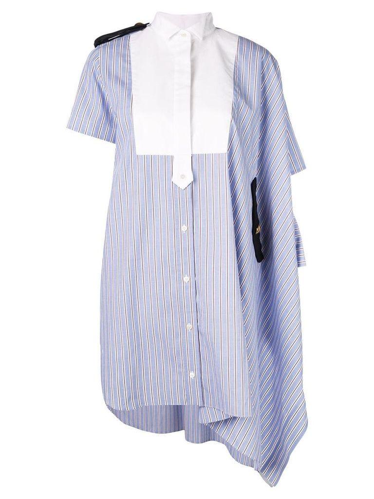 Sacai striped shirt dress - Blue
