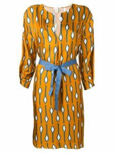 Alysi patterned fitted dress - Yellow