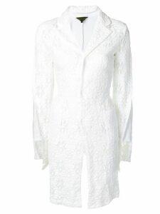 Comme Des Garçons lace panel asymmetric coat - White