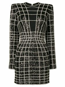 Balmain crystal grid patterned bodycon dress - Black