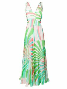 Emilio Pucci Shell Print Silk Maxi Dress - Green