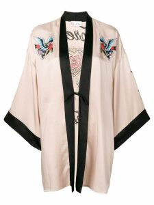 Red Valentino Tattoo-embroidered fluid satin kimono - Neutrals