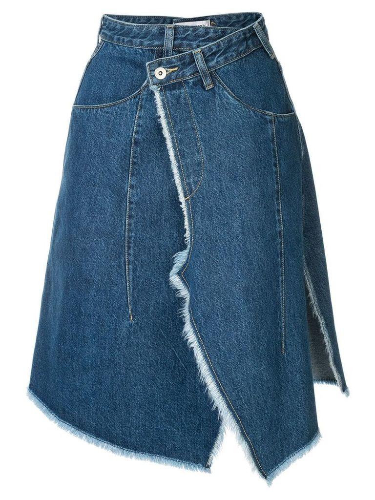 Ground Zero asymmetric wrapped denim skirt - Blue