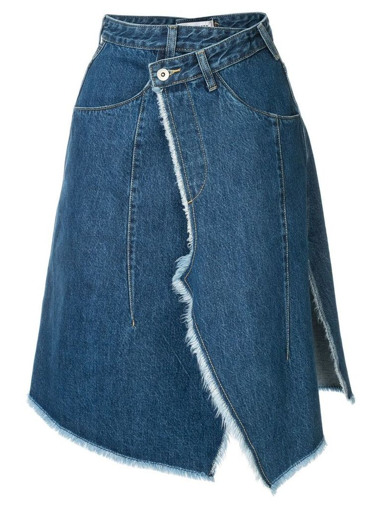 Ground Zero asymmetric wrapped denim skirt - Blue