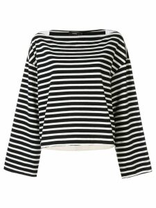 Bassike gusset detail boat neck top - White