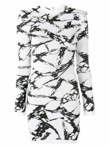 Balmain long-sleeved marble dress - White