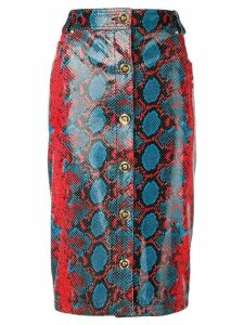 Versace snakeskin print pencil skirt - Red