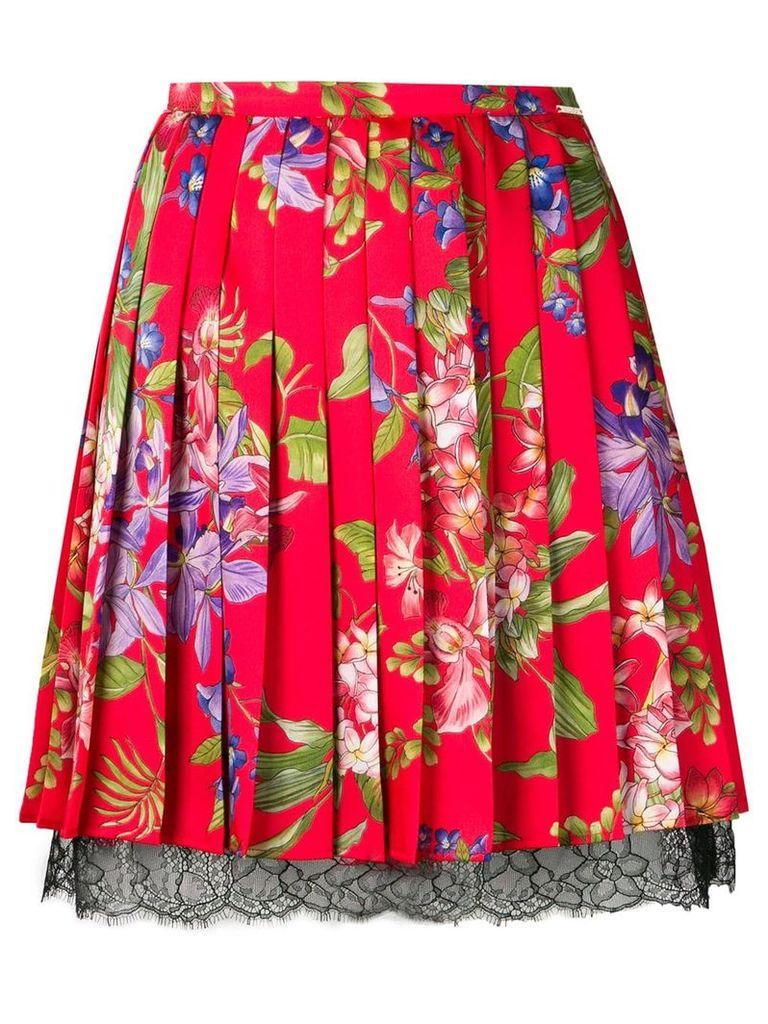 Liu Jo Iris Flower print pleated skirt - Red