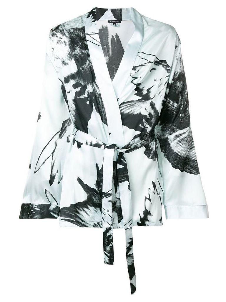 Ann Demeulemeester bird print kimono - Blue