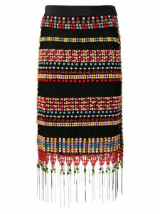 Emilio Pucci Beaded Fringed Macramé Skirt - Black