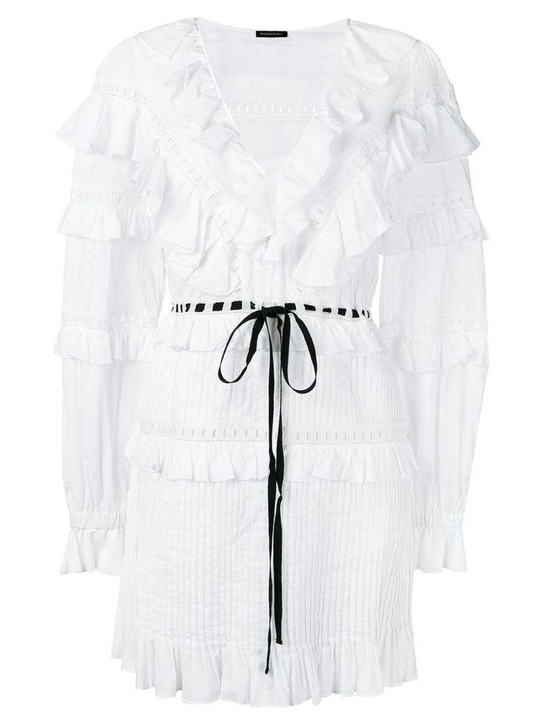 Wandering ruffled drawstring waist dress - White