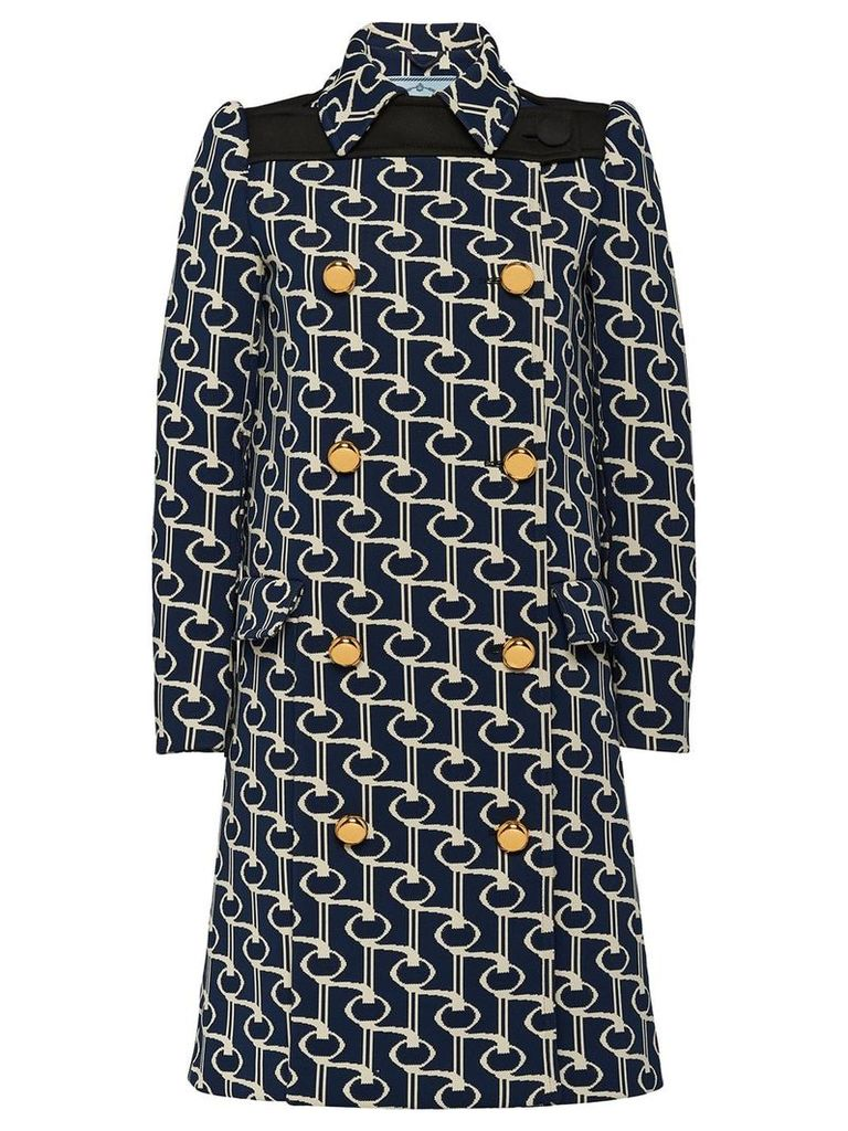 Prada Jacquard coat with key motif - Blue