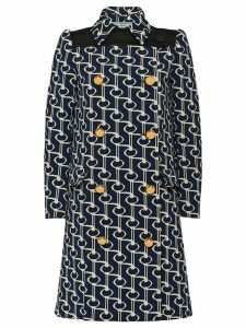 Prada Jacquard coat with key motif - Blue