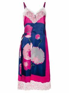 Junya Watanabe floral print slip dress - Blue