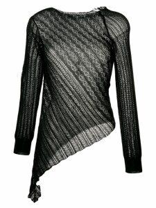 Yohji Yamamoto slant lace knitted top - Black