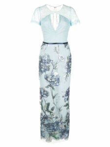 Marchesa Notte floral sequin embellished dress - Blue