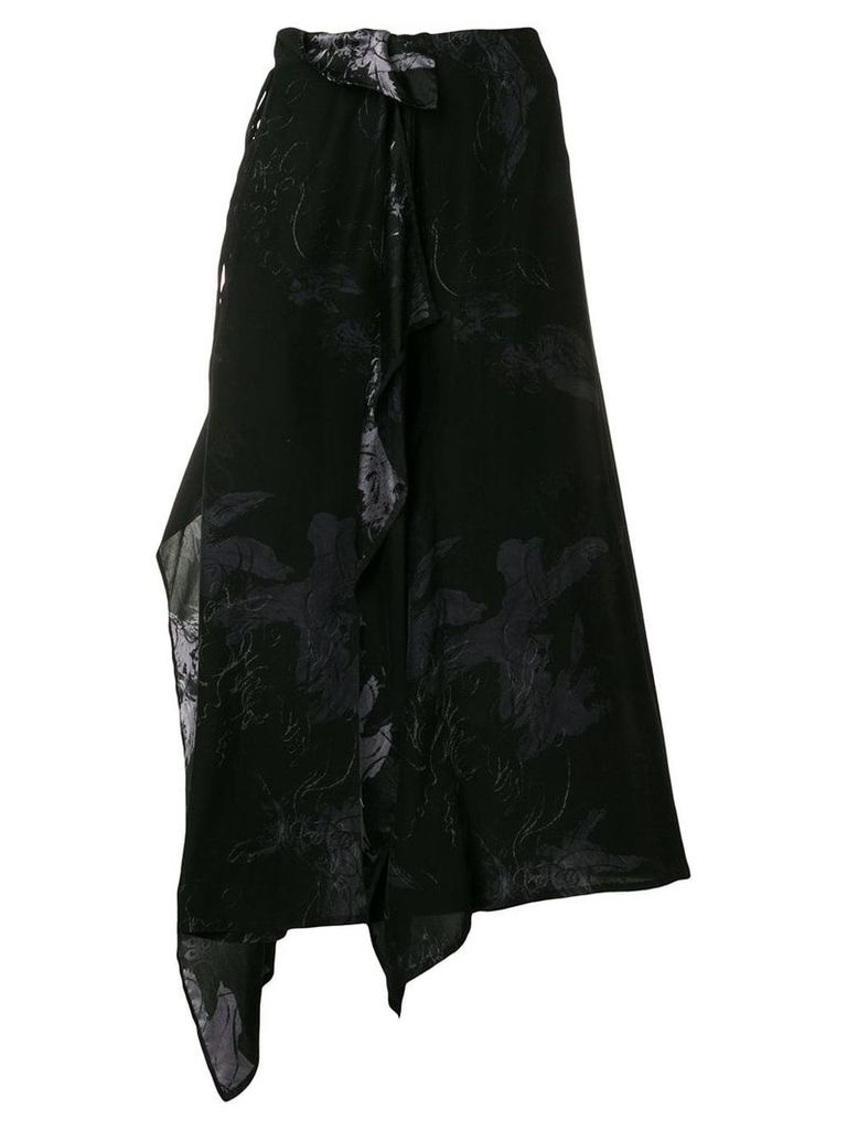 Yohji Yamamoto asymmetric midi skirt - Black