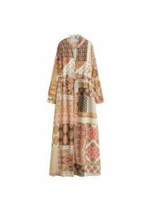 Scarf-print long dress