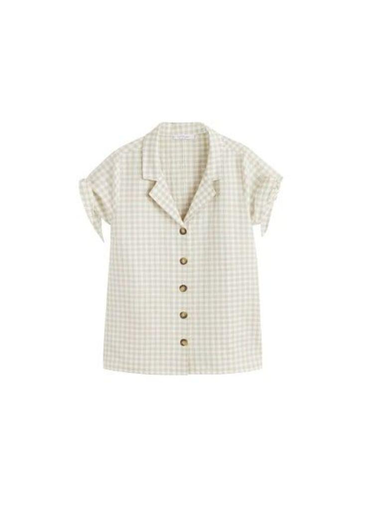 Print bow blouse