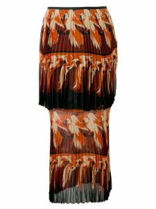 Fendi parrot motif layered skirt - Orange