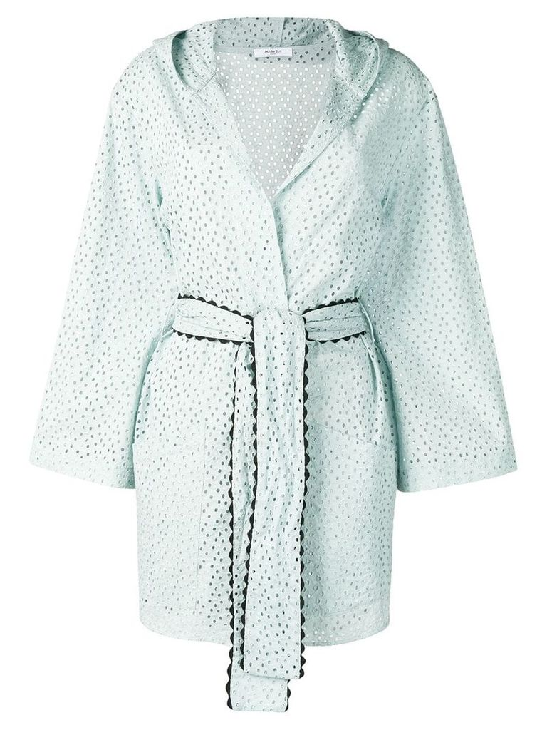 Marysia embroidered wrap-around coat - Blue