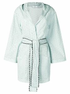 Marysia embroidered wrap-around coat - Blue