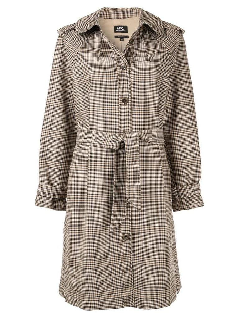 A.P.C. Ava checked trench coat - Brown