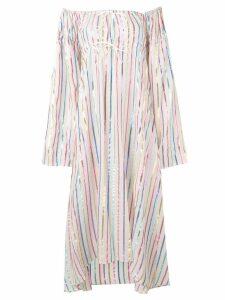 Attico striped off-the-shoulder dress - Neutrals