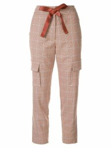 Manning Cartell ribbon drawstring check trousers - Brown