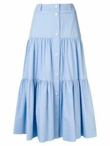 Red Valentino stretch poplin flounced skirt - Blue