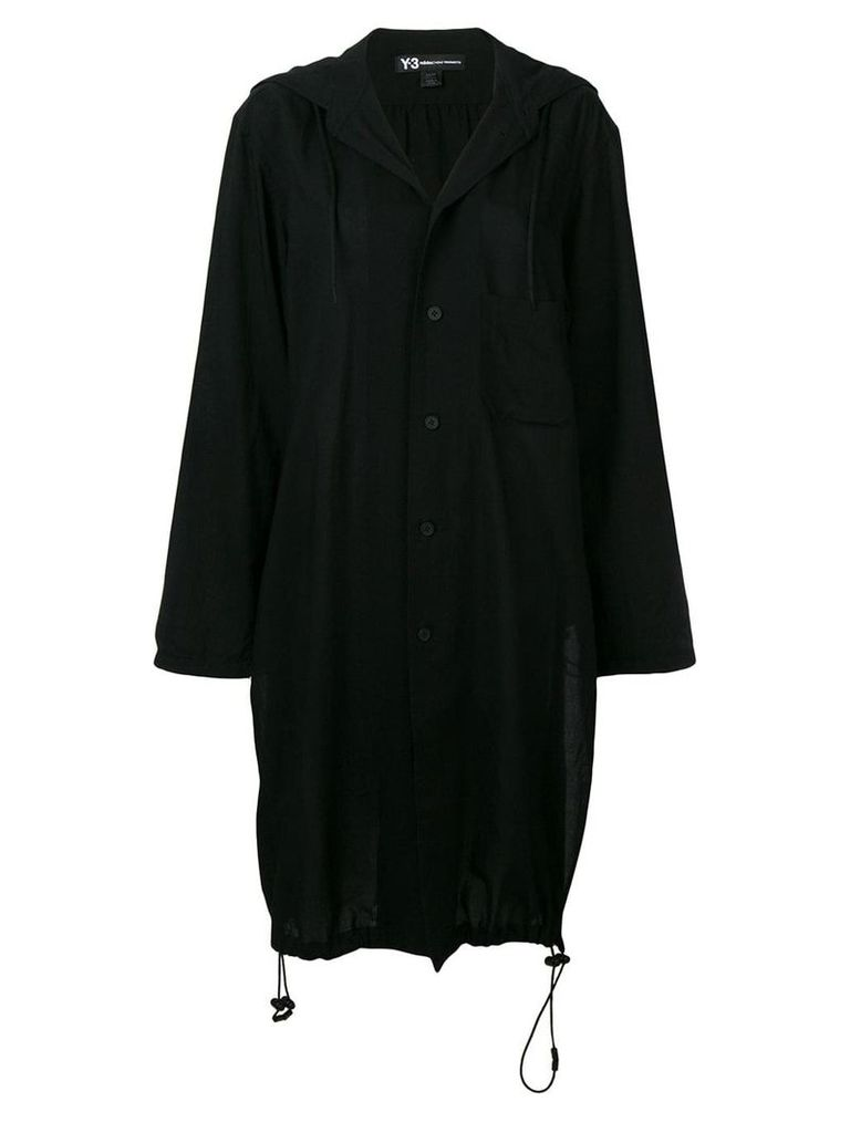 Y-3 drawstring single-breasted coat - Black