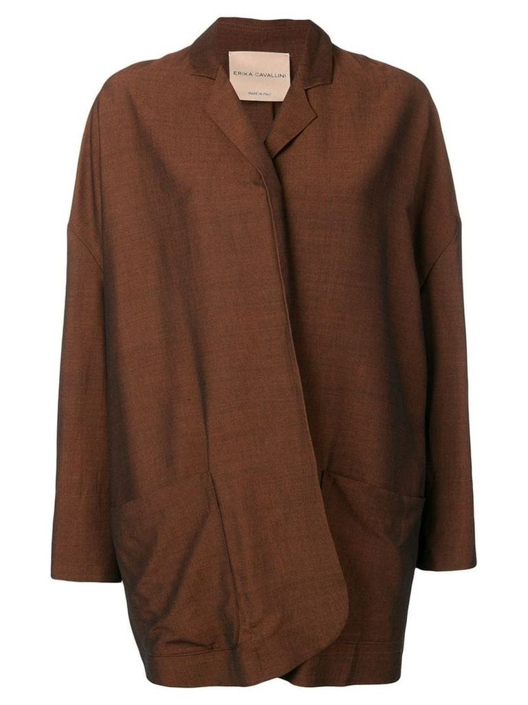 Erika Cavallini oversized draped blazer - Brown
