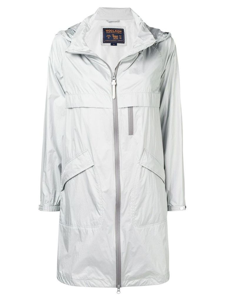 Woolrich mid-length zipped coat - Silver