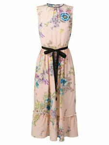 Red Valentino waist tie floral dress - Pink
