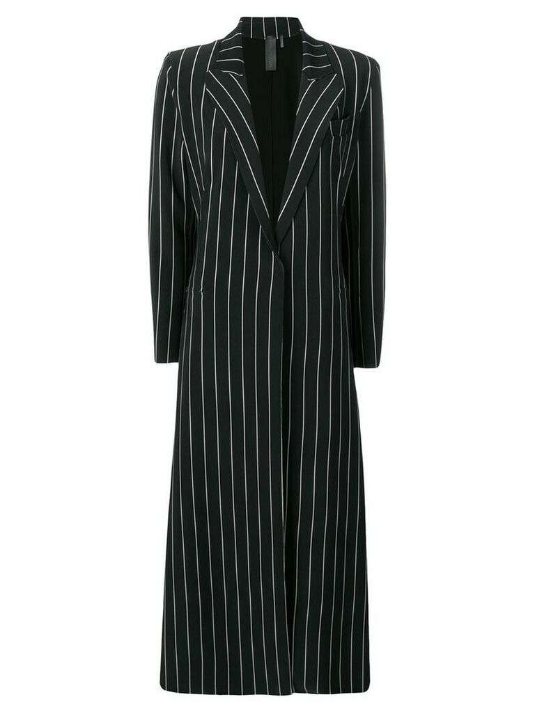 Norma Kamali striped single-breasted coat - Black