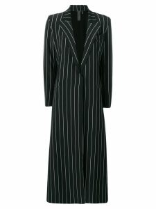 Norma Kamali striped single-breasted coat - Black