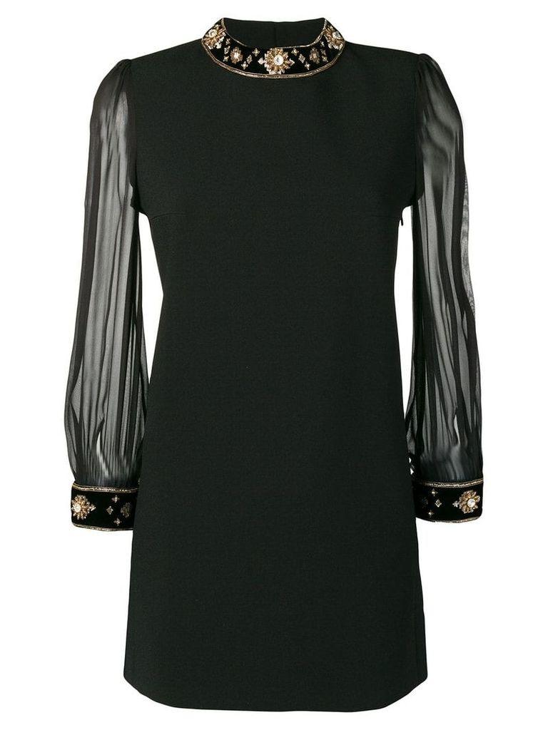 Saint Laurent crystal embellished short dress - Black