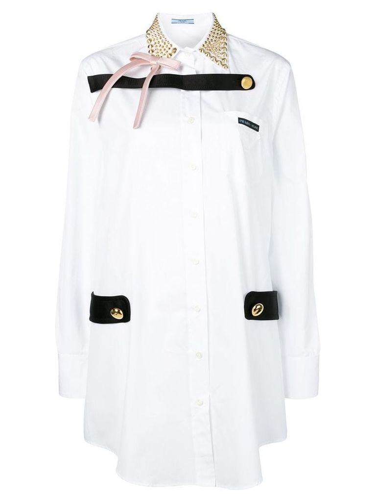 Prada studded collar shirt dress - White