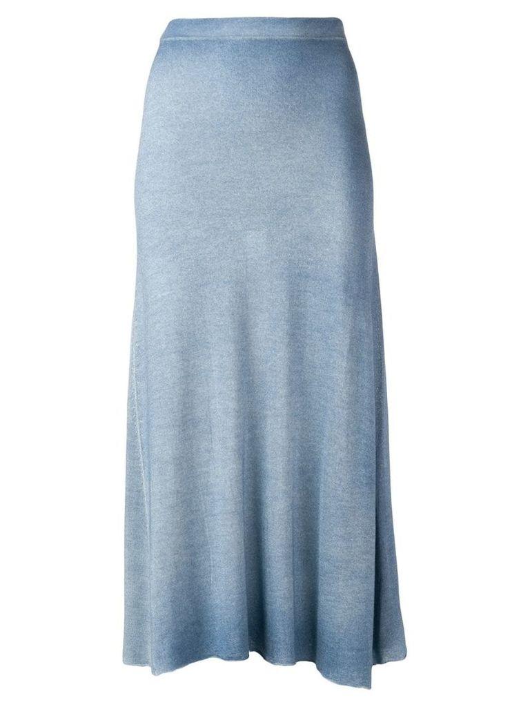 Avant Toi flared knit skirt - Blue