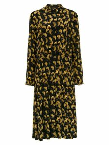 Andrea Marques silk pleated shirt dress - Black