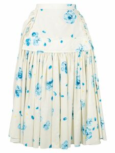 Marni floral pleated skirt - White