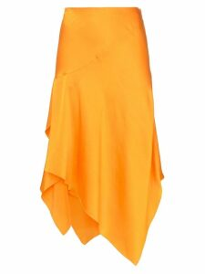 Poiret mid rise asymmetric silk skirt - Orange