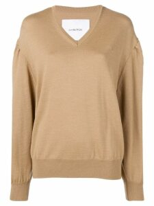pushBUTTON v neck knit sweater - Neutrals