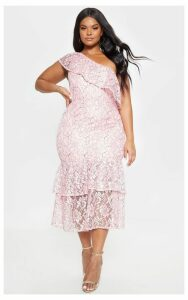 Plus Dusty Pink One Shoulder Lace Midaxi Dress, Dusty Pink