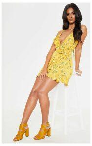 Yellow Floral Print Lace Up Back Ruffle Tea Dress, Yellow